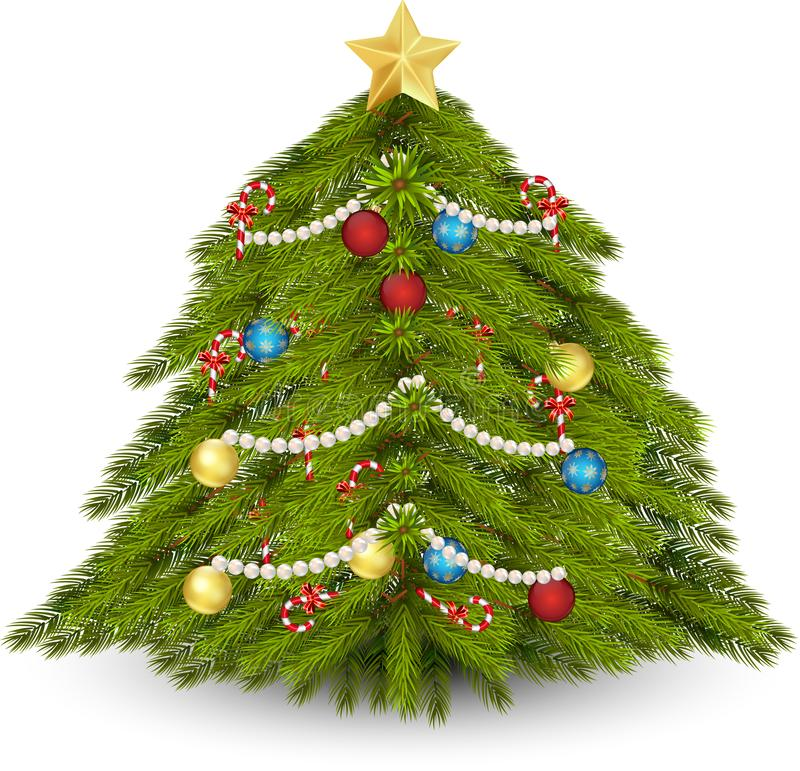 Albero di Natale decorato illustrazione vettoriale