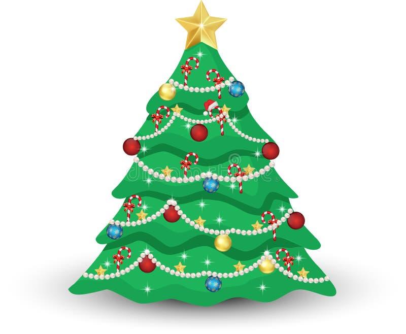 Albero di Natale decorato illustrazione di stock