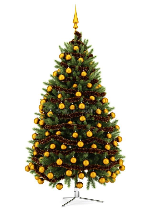 Albero di Natale decorato isolato su bianco illustrazione vettoriale