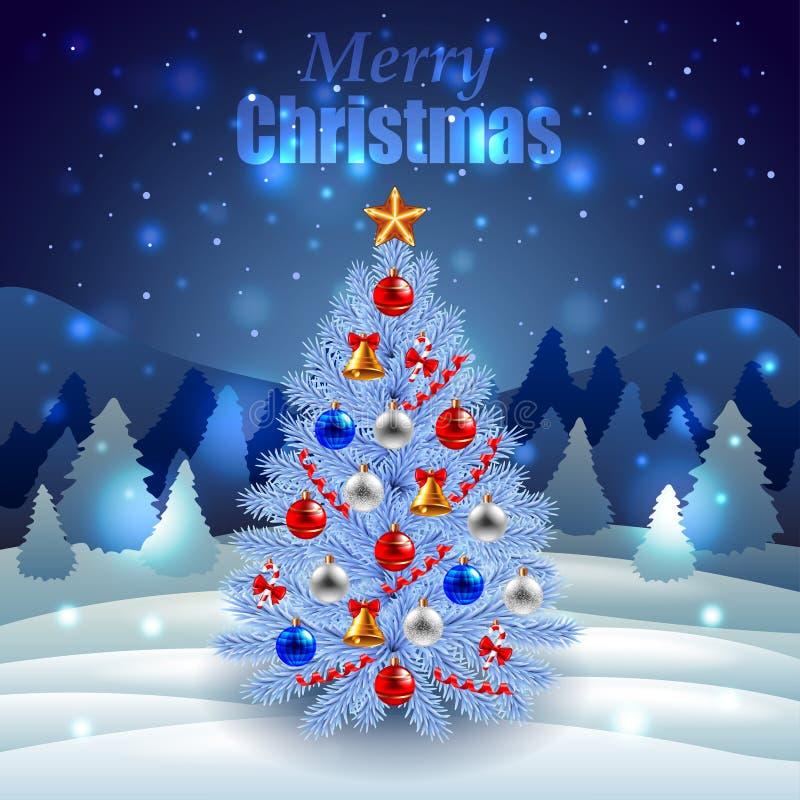 Albero di Natale decorato su paesaggio di inverno di notte illustrazione di stock