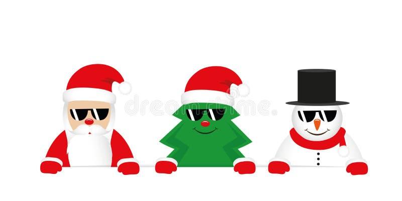 Albero di Natale del Babbo Natale e fumetto svegli del pupazzo di neve con gli occhiali da sole illustrazione di stock