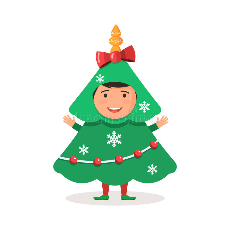 Albero di Natale del costume del bambino royalty illustrazione gratis