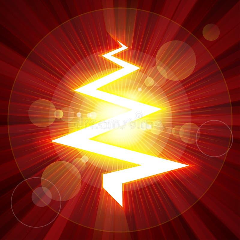 Albero di Natale del fulmine di colore rosso illustrazione vettoriale