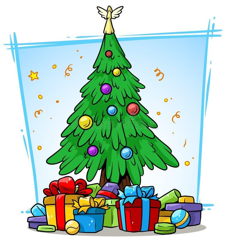 Albero di Natale del fumetto con le palle ed i contenitori di regalo illustrazione vettoriale