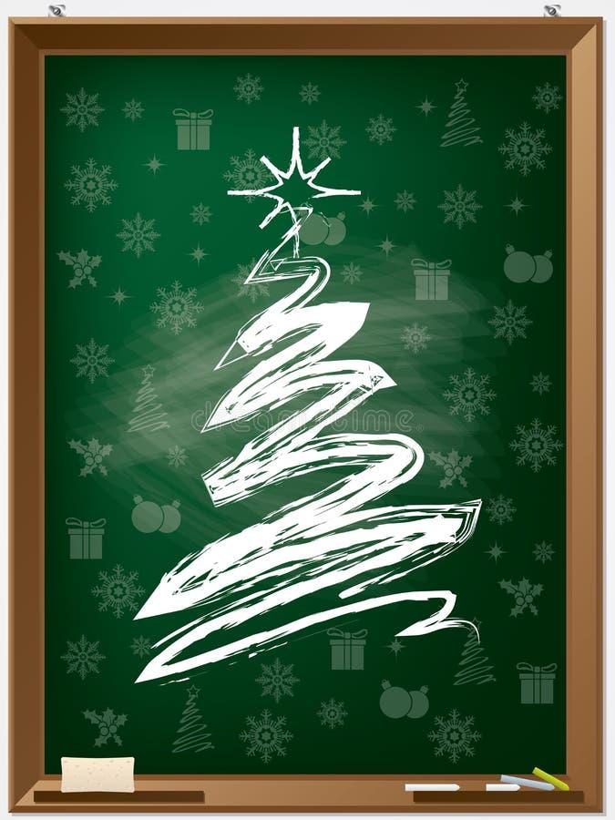 Albero di Natale del gesso sulla lavagna illustrazione vettoriale