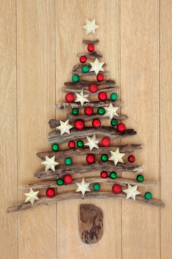 Albero di Natale del legname galleggiante sulla quercia fotografia stock