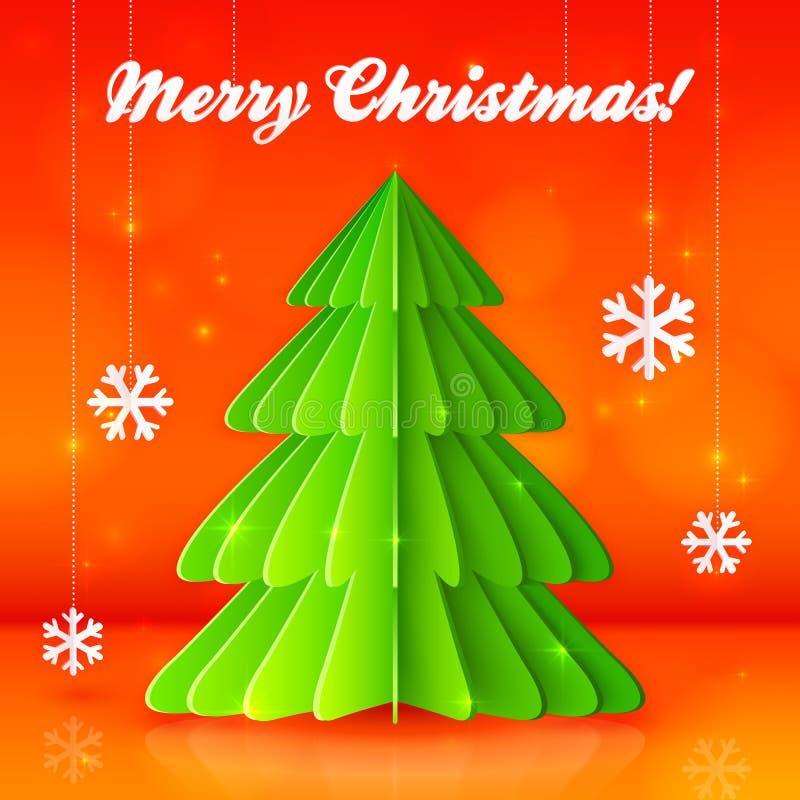 Albero di Natale del Libro Verde su fondo arancio illustrazione di stock