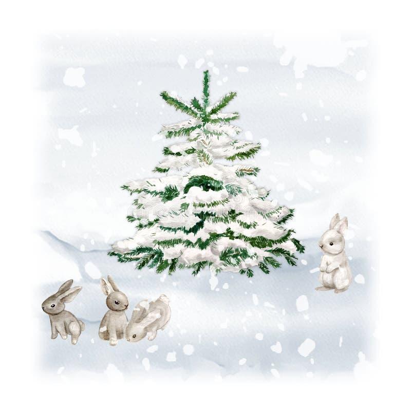 Albero di Natale dell'acquerello con il coniglietto e la neve Modello elegante di progettazione di festa di Minimalstic Carta dis royalty illustrazione gratis