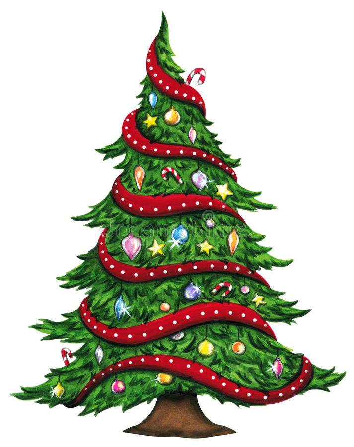 Albero di Natale dell'acquerello isolato su fondo bianco immagini stock