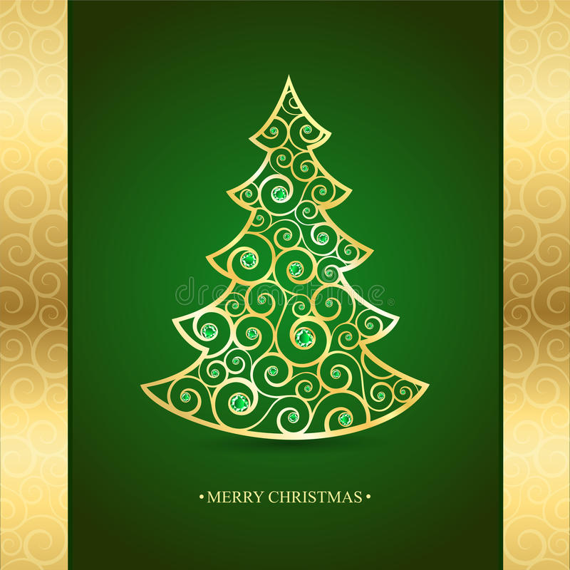 Albero di Natale dell'oro su un fondo verde illustrazione di stock
