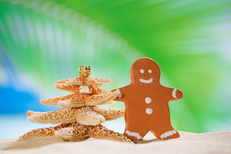 Albero di Natale dell'uomo e delle stelle marine di pan di zenzero sulla spiaggia con il seasca immagini stock