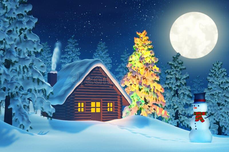 Albero di natale della cabina e pupazzo di neve nell for Affitti della cabina di whistler