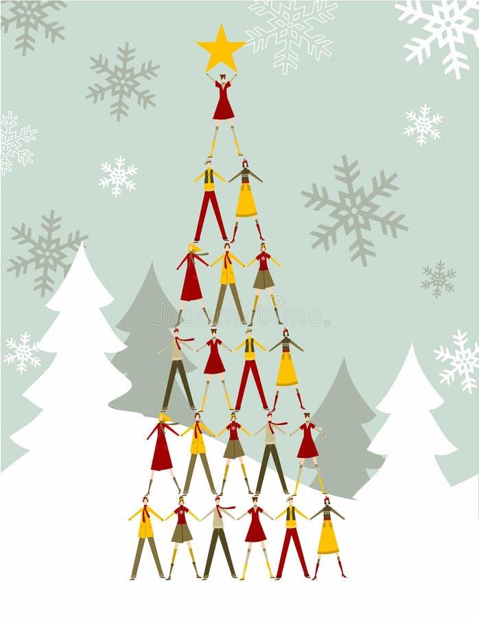 Albero di Natale della gente royalty illustrazione gratis