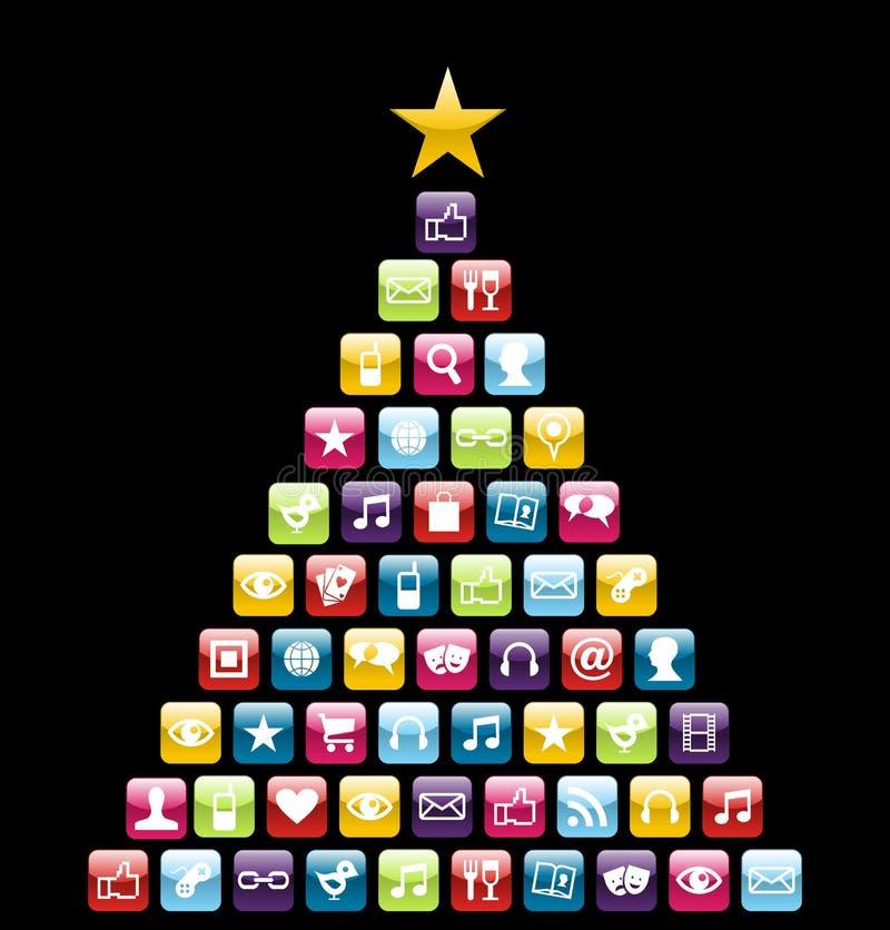 Albero di Natale delle icone di Multimeedia illustrazione di stock