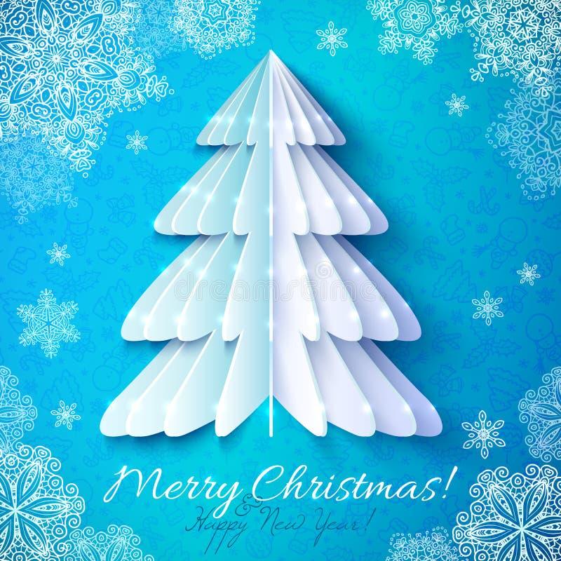 Albero di Natale di carta di origami bianchi illustrazione vettoriale