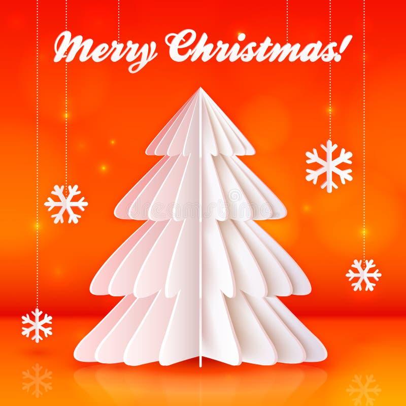 Albero di Natale di carta di origami su fondo arancio illustrazione di stock