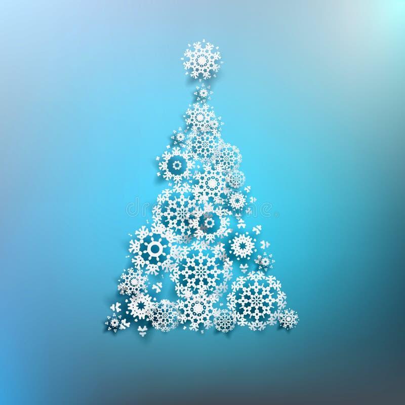 Albero di Natale di carta fatto dai fiocchi di neve. ENV 10 illustrazione vettoriale