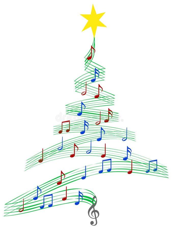 Albero di Natale di musica del canto natalizio illustrazione vettoriale