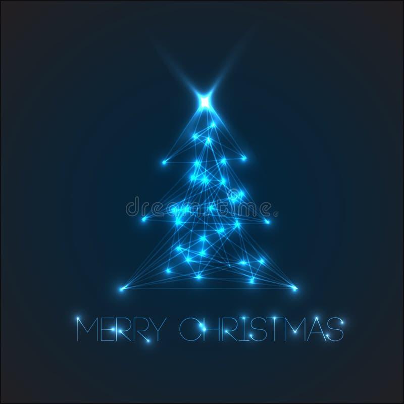 Albero di Natale di vettore dagli indicatori luminosi digitali illustrazione di stock