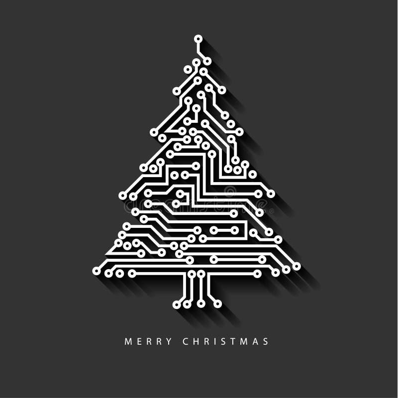 Albero di Natale di vettore dal circuito elettronico digitale royalty illustrazione gratis