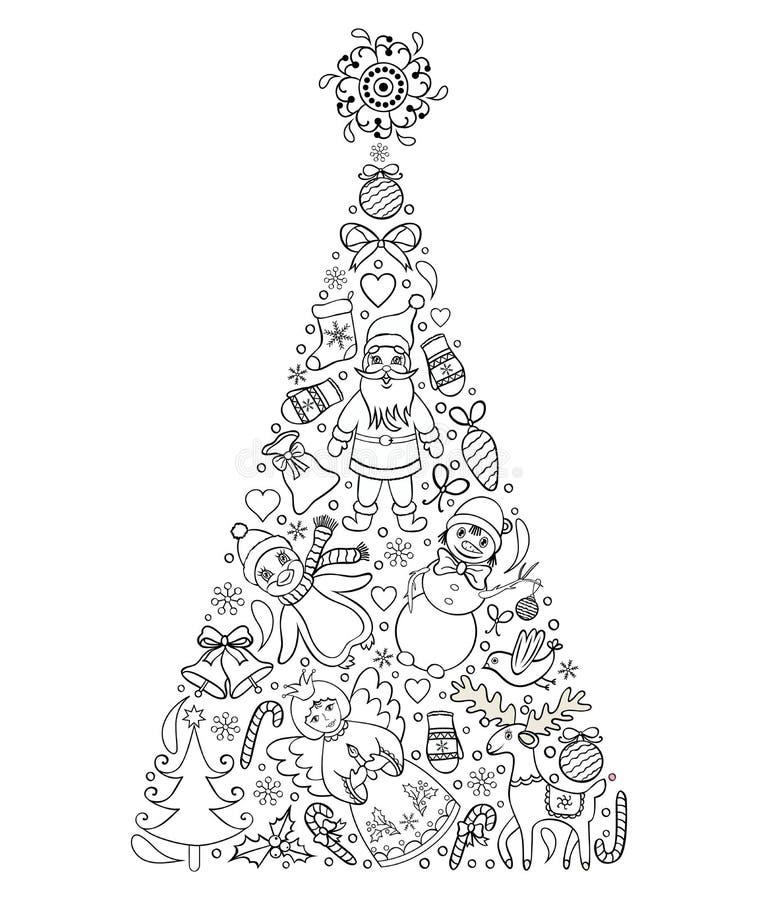Albero di Natale disegnato a mano royalty illustrazione gratis