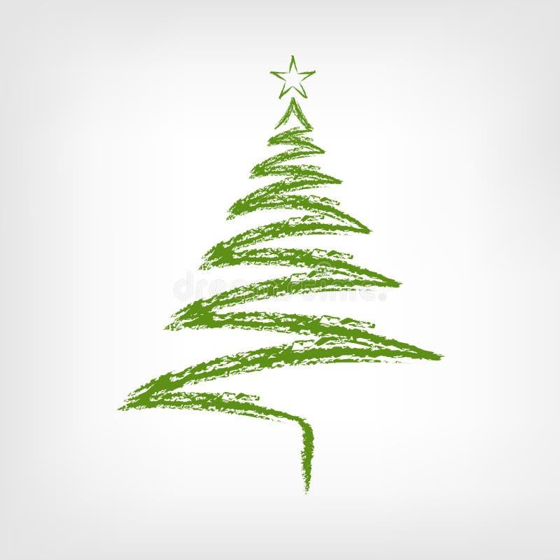 Albero di Natale disegnato a mano con la stella illustrazione di stock