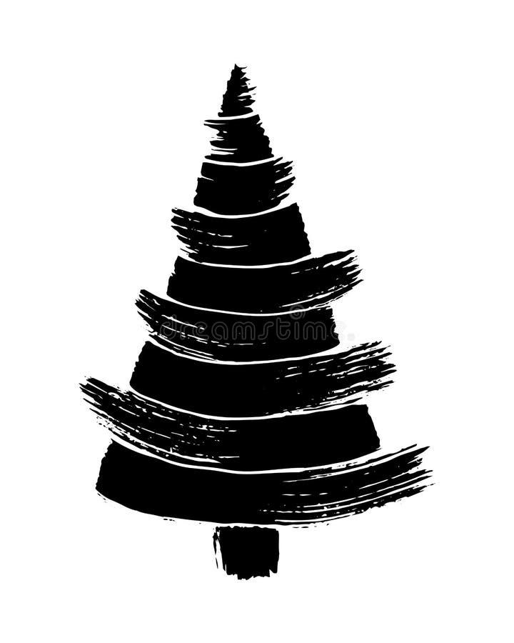 Albero di Natale disegnato a mano isolato su un fondo bianco Illustrazione di vettore dell'inchiostro illustrazione vettoriale
