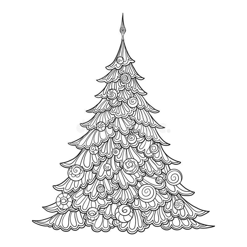 Albero di Natale disegno di contorno Buon per la coloritura della pagina per il libro da colorare adulto illustrazione vettoriale