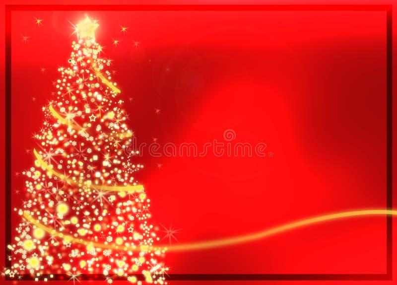 Albero di Natale dorato astratto su priorità bassa rossa illustrazione di stock