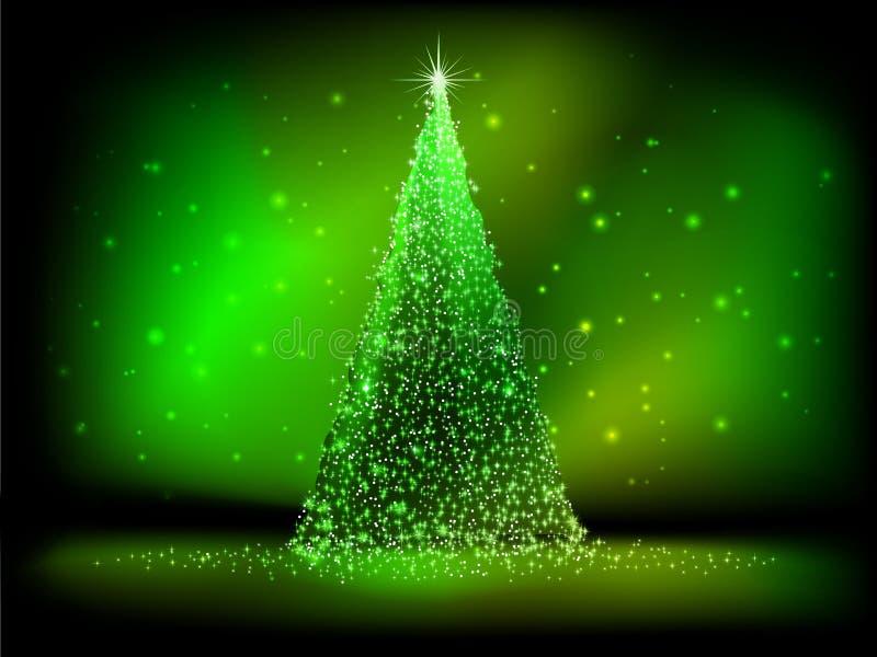 Albero di Natale dorato astratto su verde. ENV 10 illustrazione di stock