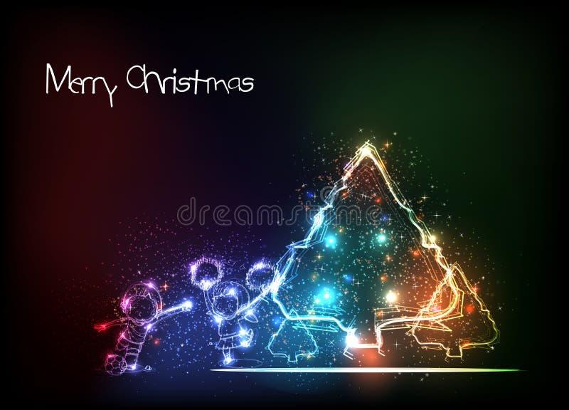 Albero di Natale e bambini allegro royalty illustrazione gratis