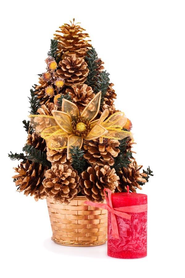 Albero di Natale e candela immagini stock libere da diritti