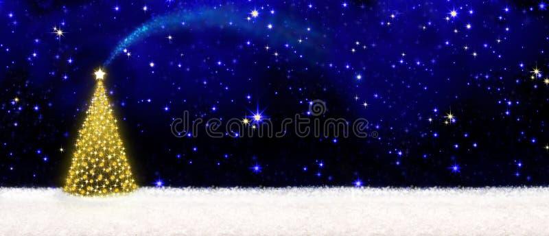 Albero di Natale e cielo stellato illustrazione di stock