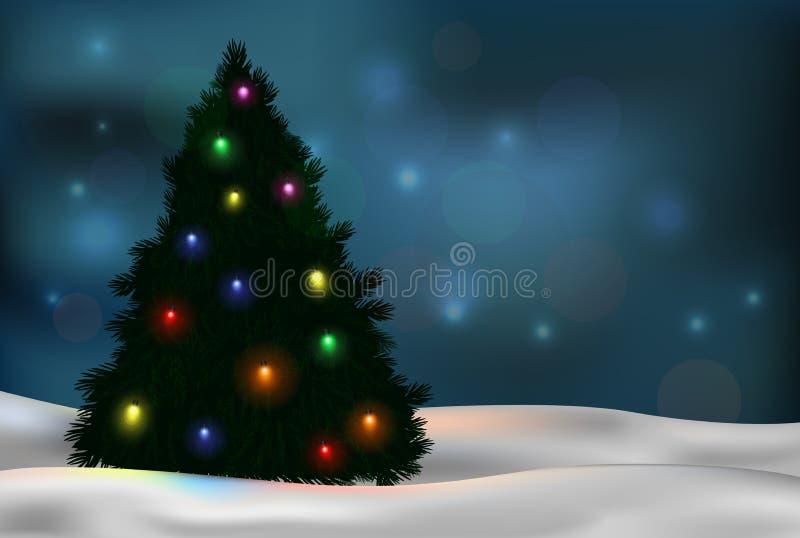 Albero di Natale e decorazioni sul fondo di inverno illustrazione vettoriale