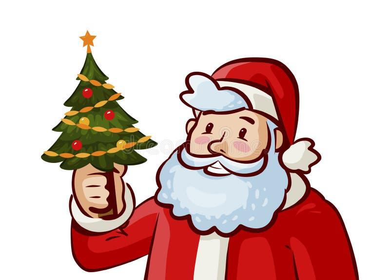 Albero di Natale e del Babbo Natale Festa, concetto di natale Illustrazione di vettore del fumetto illustrazione di stock