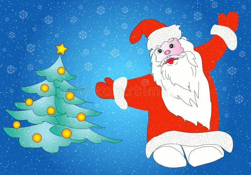 Albero di Natale e del Babbo Natale illustrazione di stock