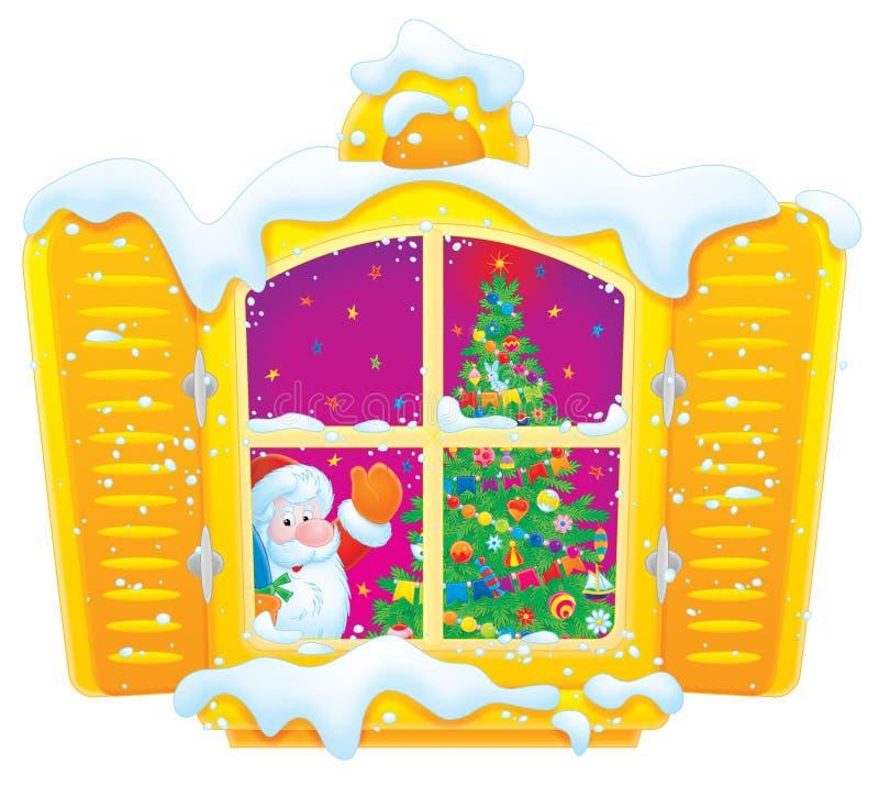 Albero di Natale e del Babbo Natale nella finestra illustrazione di stock