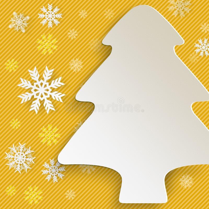 Albero di Natale e fiocchi di neve su fondo giallo illustrazione vettoriale