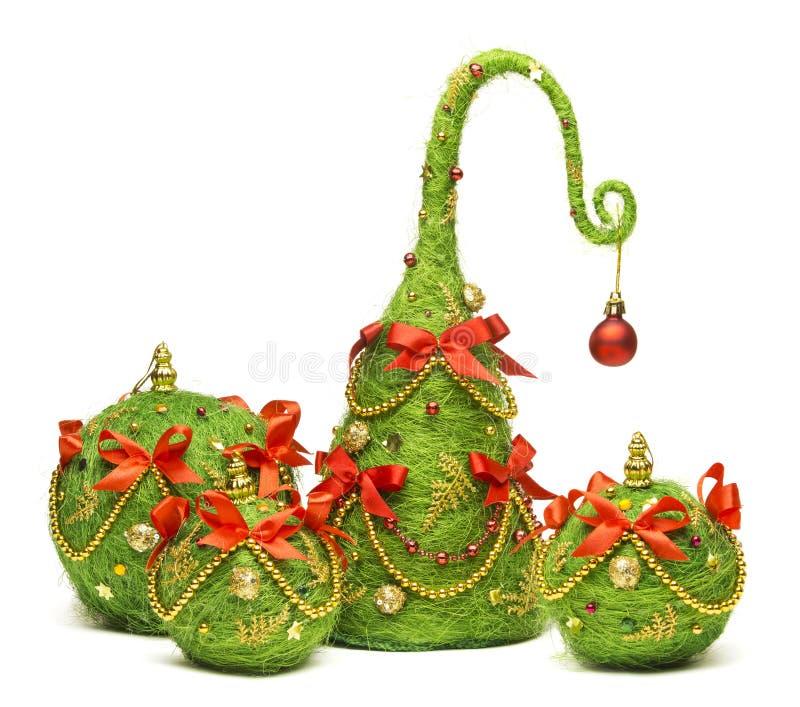 Albero di Natale e giocattolo d'attaccatura della decorazione delle palle, decorazione di natale fotografia stock