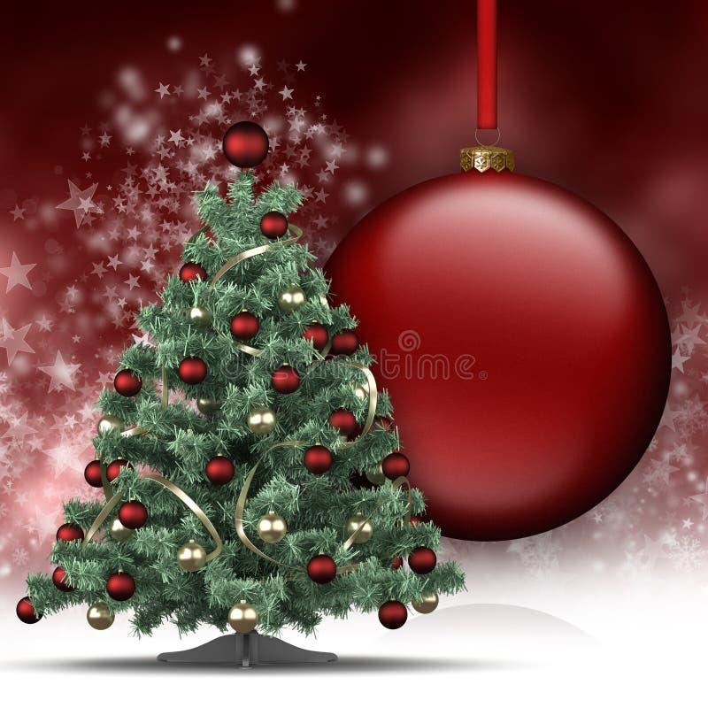 Albero di Natale e grande bagattella illustrazione vettoriale