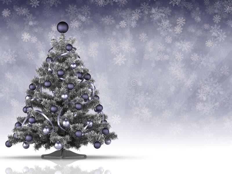 Albero di Natale e molti fiocchi di neve nel fondo illustrazione di stock