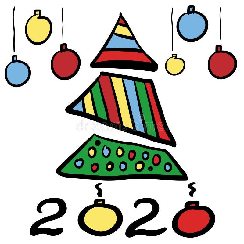Albero di Natale e palle astratti disegnati a mano di colore ?Number 2020 Clipart per le feste nuovo anno e Natale di progettazio illustrazione vettoriale