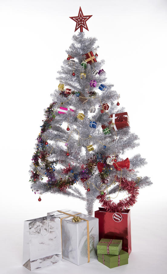 Albero di Natale e presente immagine stock