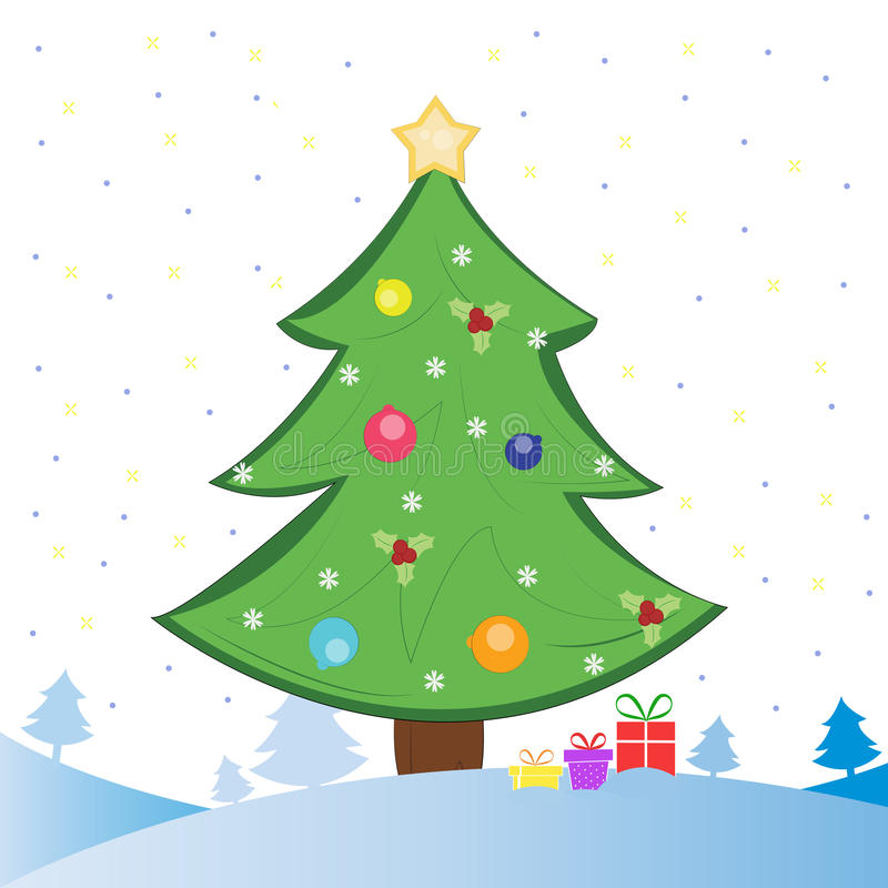 Albero di Natale e presente su campo di neve illustrazione di stock