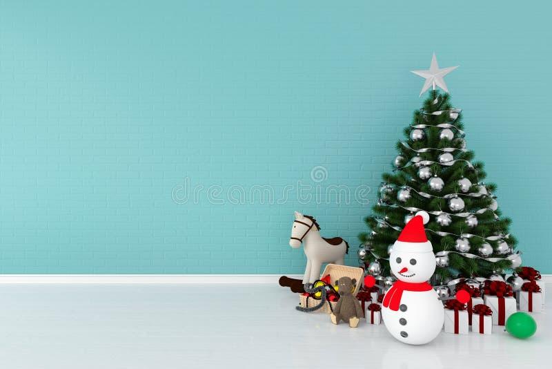 Albero di Natale e pupazzo di neve nella stanza blu-chiaro, rappresentazione 3D fotografia stock libera da diritti