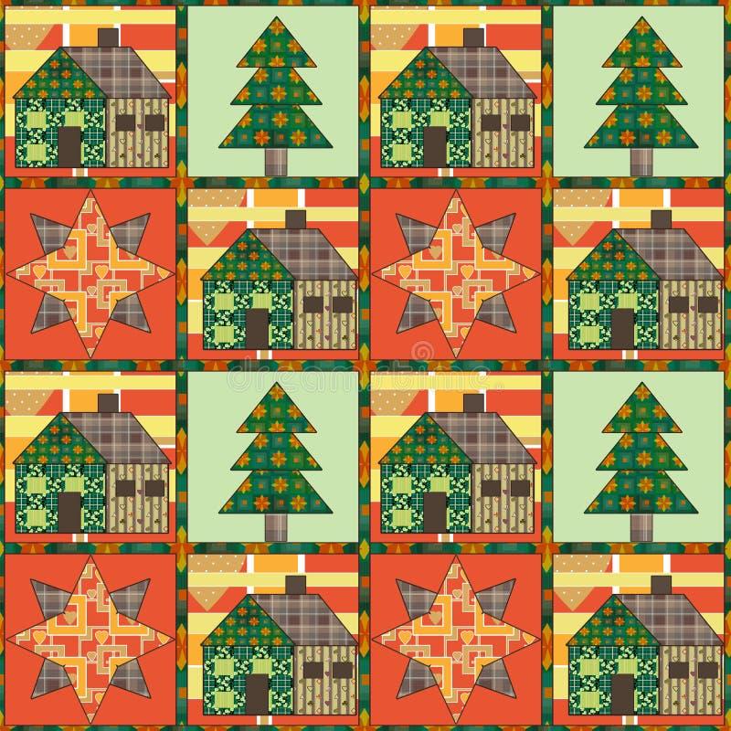 Albero di Natale e rappezzatura senza cuciture del fondo del modello della casa illustrazione di stock