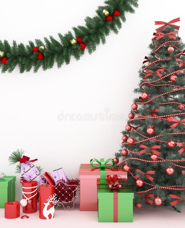 Albero di Natale e regalo in salone - materiale illustrativo per il giorno di Natale - rappresentazione 3D immagine stock libera da diritti