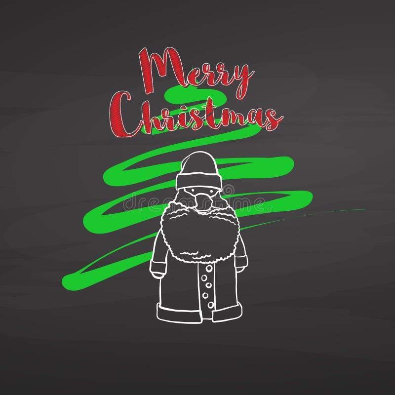 Albero di Natale e Santa che attingono lavagna illustrazione vettoriale