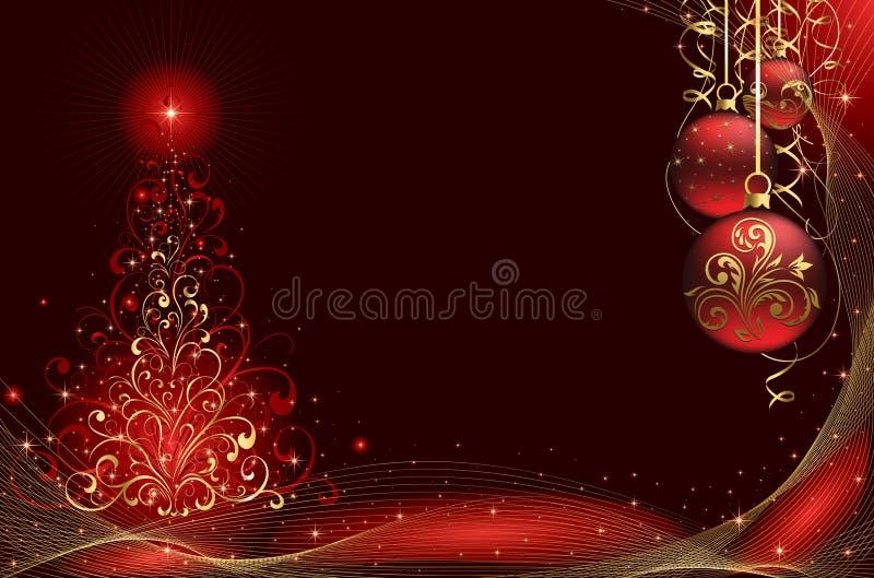 Albero di Natale e sfere illustrazione di stock
