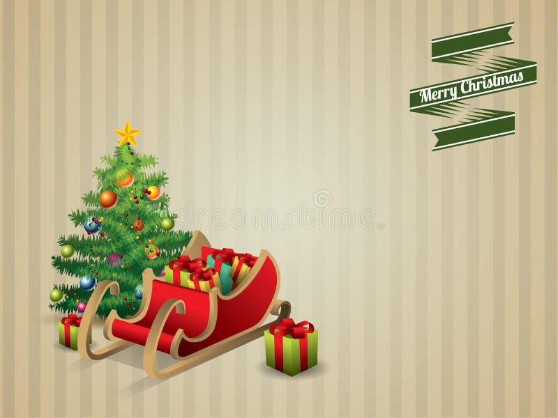Albero di Natale e slitta illustrazione di stock